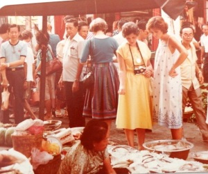 Local fish market. Not taken in the 70s! The woman in yellow is my mother and I'm in white.1983.