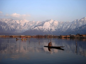 Dal Lake with shikaras. Nina and Michael would have used similar vessels to get from the houseboat to the shore. The shikaras with canopies and cushions for lolling on cost more to hire!